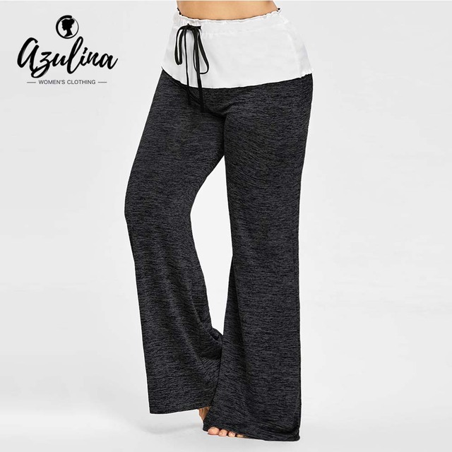 Rosegal High Waisted Plus Size Wide Legged Pants Women Casual Loose Drawstring Wide Leg Pants Trousers 2018 Skinny Pant Big Size