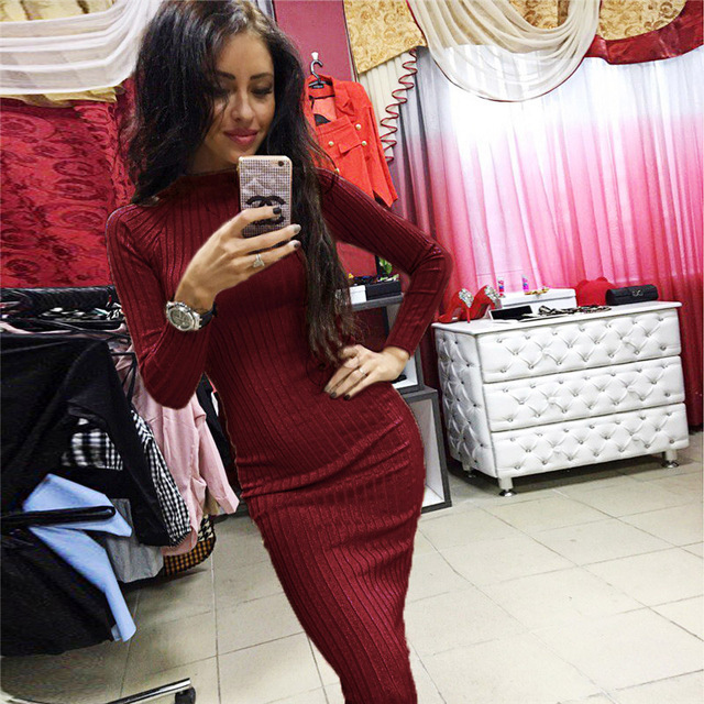 Sytiz Spring Sexy Long Knitted Dress Long Sleeve Bandage Sweater Dresses Casual Slim Black Women Autumn Elegant Bodycon Dress