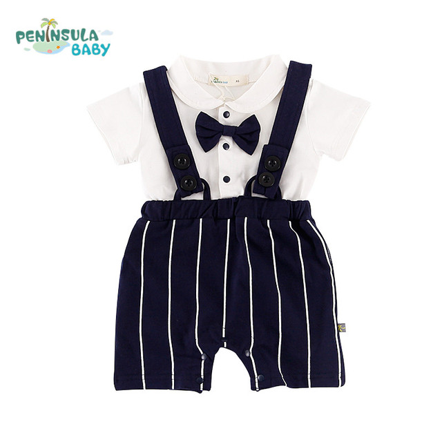 New Girls Clothes Short Sleeved Summer Fashion Newborn Infant Gentleman Handsome Baby Boys Clothing Jumpsuits Children Product