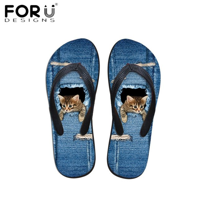 FORUDESIGNS 2019 Stylish Cute Denim Cat Dog Printing Women Flip Flops Summer Beach Water Slippers for Ladies Girls Sandals Shoes