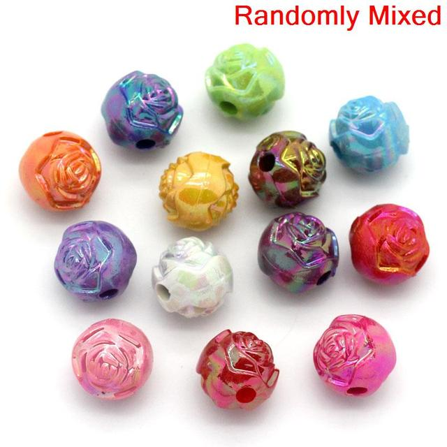 DoreenBeads Acrylic Spacer Beads Round Mixed AB Color Plower Carved 8mm Dia,Hole:Approx 1.8mm,200PCs (B23569), yiwu