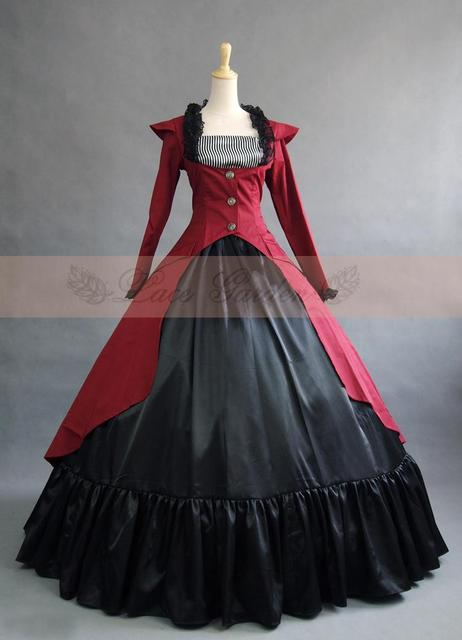 Burgundy and Black  Cotton Southern Belle Ball Gown Victorian Dress