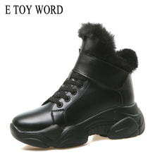 E TOY WORD women winter boots round toe Ankle Boots women Warm Plush Women Shoes platform Lace Up Fur boots Botas Mujer