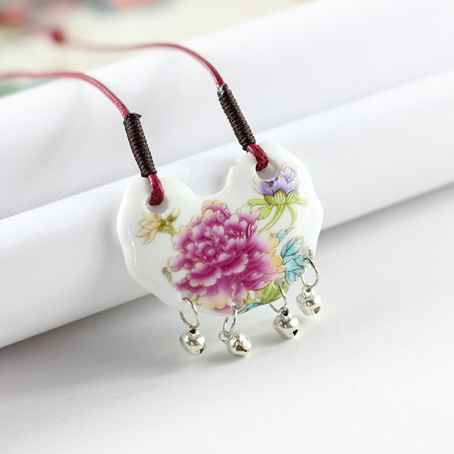 12 Pieces/Lot Ceramic Necklaces Butterfly Flower Pendants Stone Charm Choker For Women Statement Jewelry Long Chain Rope Gifts