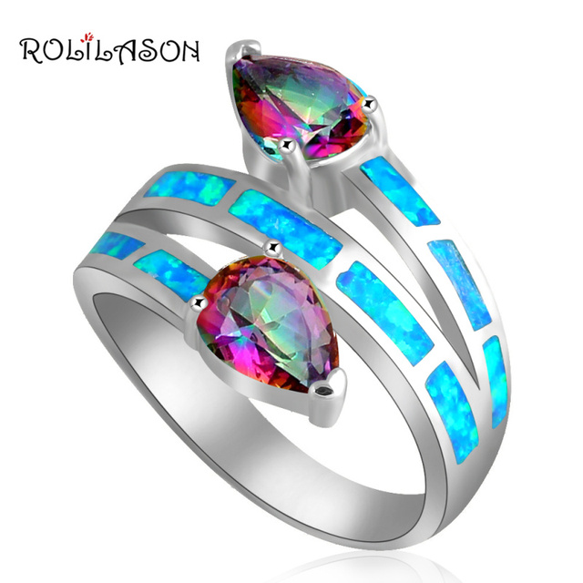 Wonderful gifts ! Mystic Zircon Design Blue fire Opal silver color Stamped Rings  jewelry USA size #6 #7#8 #9 #10 OR745