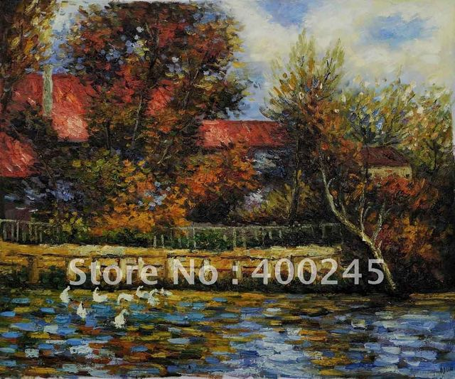 Pierre Auguste Renoir Painting Reproduction Duck Pond Canvas art 100%handmade+High quality