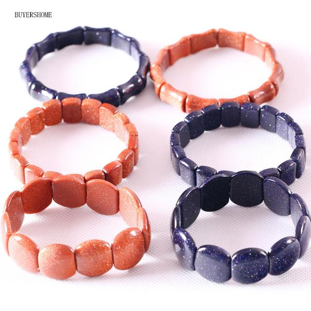 "1Pcs BUYERSHOME Hot Jewelry Bangle Gift For Women Natural Beads Stone Material Blue Gold Sandstone Cord Stretch Bracelet 7""1Pcs"