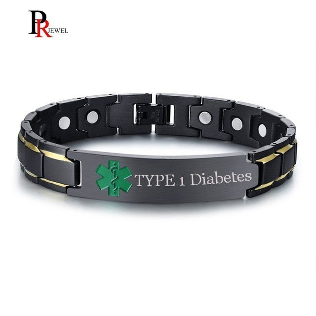TYPE 1 Diabetes Medical Alert ID Bracelets for Men Free Custom Engraving  Magnetic Therapy Bracelet Pain Relief for Arthritis