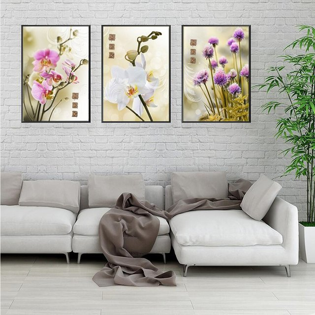 3 Panel fresh flower Blooming Well Hot Sell Modern Wall Painting abstract  Home Wall Art Picture Paint on Canvas Prints art