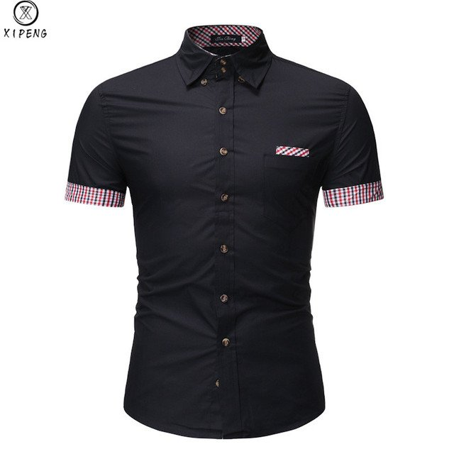 New Arrival Brand Men's Summer Business Shirt Short Sleeves Turn-down Collar Casual Plaid Shirt camisa masculina
