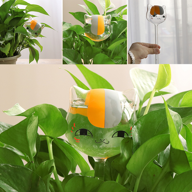 Cat Shaped Glass Plant Flower Watering Spike Stake Water Feeder Home Garden