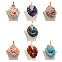 Hot Women Ladies Vintage Fox Pattern Print Voile Wrap Shawl Scarf Voile Lightweight Sheer Infinity Print Circle Scarf