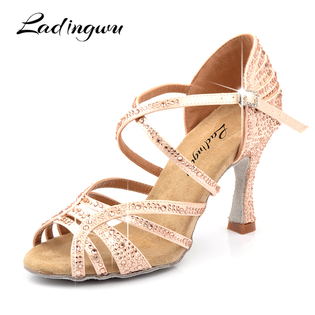 Ladingwu Dance Shoes Latin Woman Salsa Silk Satin Dancing Shoes Glitter Rhinestone Professional Dance Shoes Ballroom Soft Bottom
