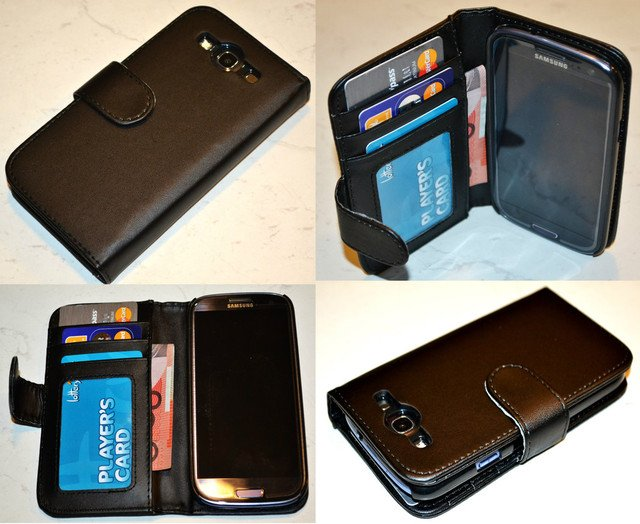 Black Samsung Galaxy S3 i9300 Flip PU Leather ID Credit Card Wallet Case Cover
