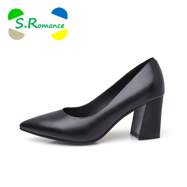 S.Romance Women Pumps 2018 Genuine Leather Fashion Plus Size 34-43 Elegant Pointed Toe Office Lady Woman Shoes Black SH010