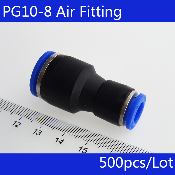 Free shipping 500pcs PG10-8 Unequal Diameter Air Tube Fitting Straight Union , One Touch Push In Pneumatic Fitting Connectors