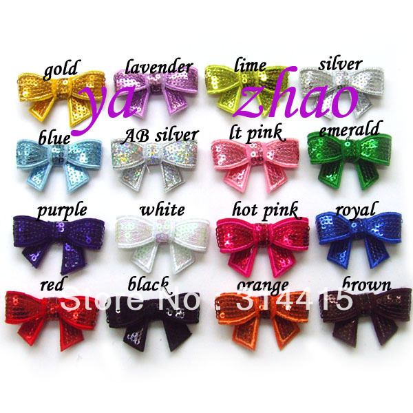 "2"" Embroideried sequin hair bows 500pcs/lot, 16 colors in stock, free shipping"