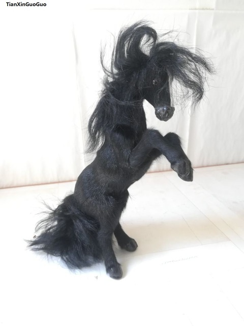 simulation black horse 10x24cm hard model prop polyethylene&furs jump-up horse handicraft decoration gift s1650