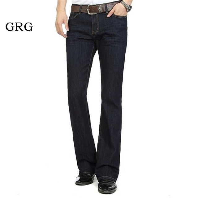 Free Shipping High Quality Promotion Men's Large Size Boot Cut Jeans Male Mid Waist Business Long Pants  flares Trousers 27-36