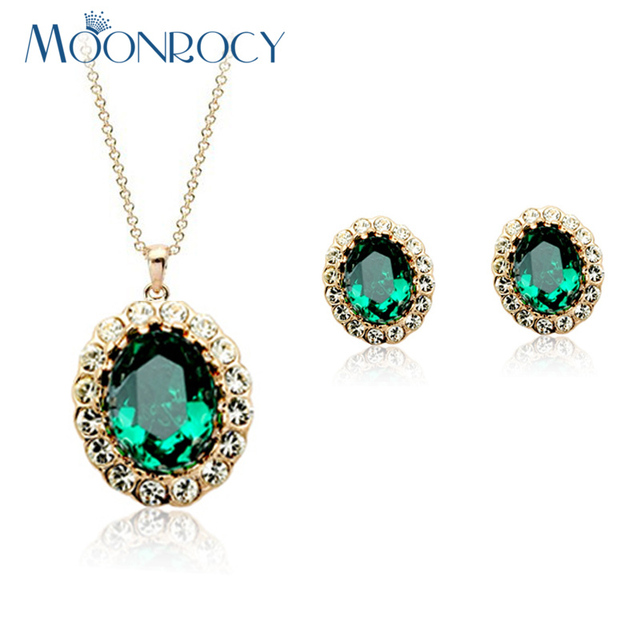 MOONROCY Free Shipping fashion Green crystal necklace and earring  Rose Gold Color Crystal Jewelry Set for Women