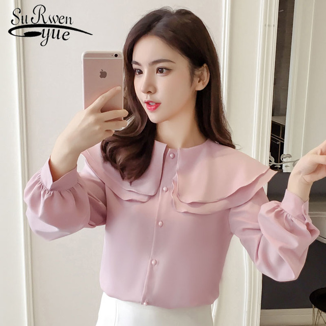 Women tops and chiffon blouse 2019 spring new style long sleeve women blouse O neck White pink solid color elegance top 2645 50