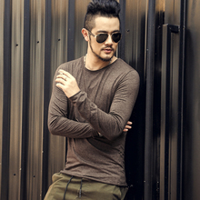 Autumn New Mens cotton casual solid long sleeved t-shirt men slim American style high quality hot sale t shirt men hot sale