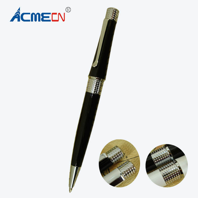 ACMECN Office Writing Ballpoint pen with Pearl White and Black Embossing Pattern Stationery Writing Slim Pen for Birthday Gifts