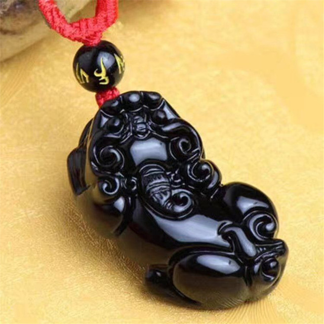 Natural Black Obsidian Stone Pendant Carved Animal Pixiu Bring Wealth Necklace Pendant Men Stone Jades Jewelry