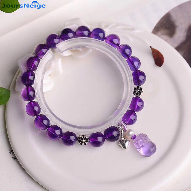 Wholesale Purple Natural Crystal Bracelets Round Bead With Pixiu Pendant Bracelet Lucky Beauty for Women Gift Crystal Jewelry