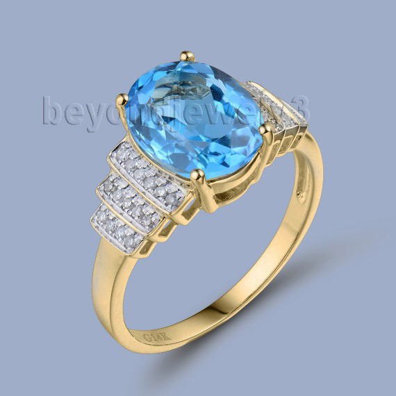 LANMI Women Toaz Rings Pure 14KT Yellow Gold In Side Diamonds Blue Topaz Ring For Birthday Gift