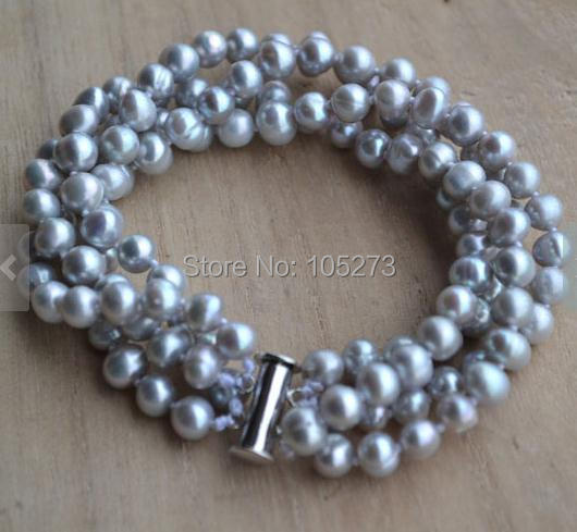 New Arriver Wedding Bracelet 4 Rows 8 Inches Gray Color Natural Freshwater Pearl Bracelet AA 5-6MM Pearl Jewelry Free Shipping