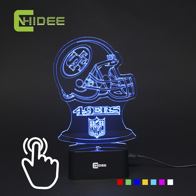 CNHIDEE 7 Color RGB Changeable 3d Night Light for San Francisco Soccer Team Fans as Bedroom Home Decor Led Touch Table Lmap DC5V