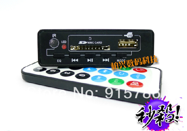 Free shipping multi-function Bluetooth MP3 decoder board, MP3/WMA dual format, 5V3W stereo amplifier with FM
