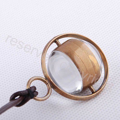 Bronze Tone Case Lady Glass Ball Wind Up Mechanical Pocket Watch Leather Strap Nice Xmas Gift Wholesale Price H125