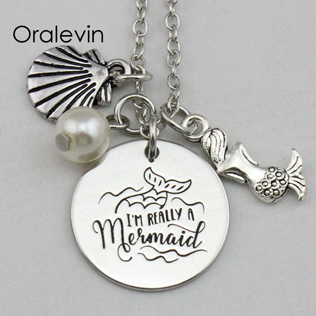 DROP SHIPPING -  I'M REALLY A MERMAID Inspirational Hand Stamped Engraved Mermaid Charms Necklace Jewelry for Girl Gift #LN2211