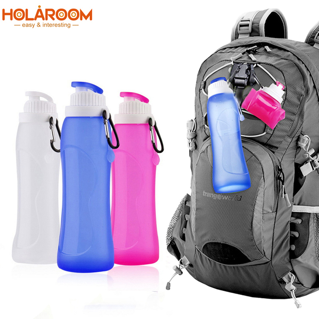 Creative 500ML  collapsible foldable Silicone drink Sport Bottle for Water Eco-Friendly plastic bicycle my bottle Camping travel