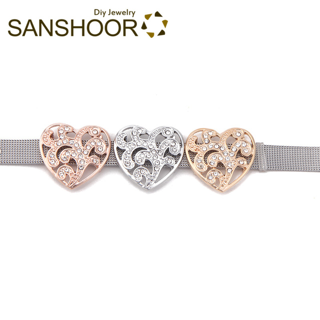 SANSHOOR 2.5*2.8cm Flower Heart Big Slide Charms Fit 10mm Leather Wrap Keeper Bracelet Diy Mesh Armband For Women Gifts 6Pcs