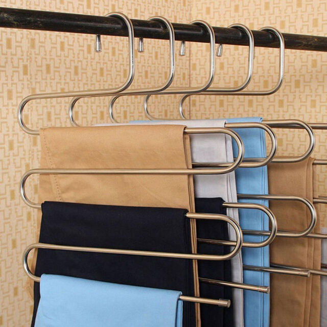Stainless Steel Trousers Hanger Multifunction Pants Closet Belt Holder Rack S-type 5 Layers Saving Space
