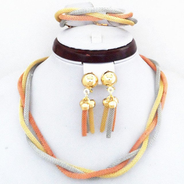 3 ColorGold Color Twisted Chain Elegant Wedding African Female Jewelry Sets 100% Good Quality Guarantee!! Party Jewelry Set