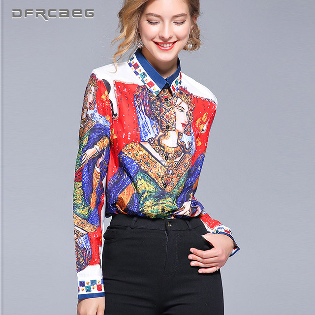 Print Vintage Blouses Women 2018 Fashion Autumn Long Sleeve Harajuku Shirts Female Casual Retro Ladies Tops And Blusas Femme