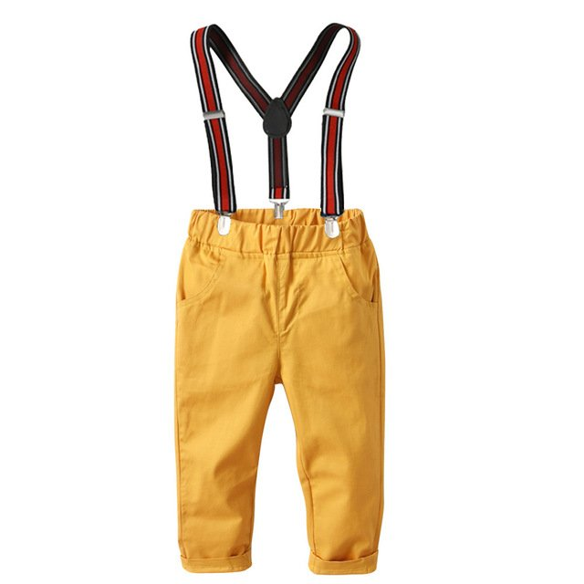 2019 Children Boys Yellow Color Pants with Overall Belt 2pcs Sets Western Baby Kids Boys Summer New Fashion Pants