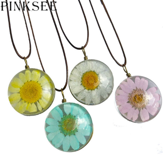 PINKSEE 8 Colors Flower Pendant Necklace Glass Cabochon Vintage Choker Statement Necklaces Fashion Women Jewelry Gift