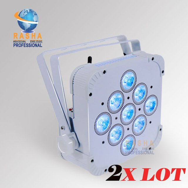 2pcs/LOT Rasha HexV9 9*18W 6in1 RGABW+UV Built in Wireless LED Flat Par Light,LED Flat Par Can,Disco Event Stage Light