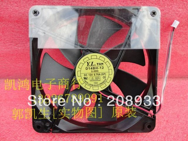 For YATELOON D14BH-12 12V 0.70A 14CM two line winds chassis power supply fan+cooling fan