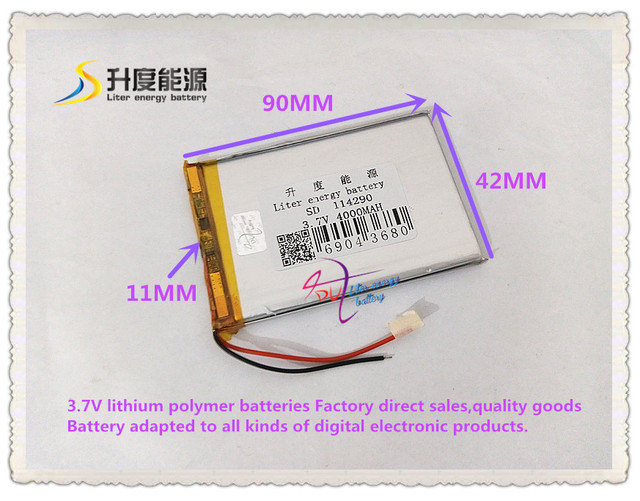 3.7V 4000mAH 114290 polymer lithium ion / Li-ion battery for power bank tablet pc GPS mp3 mp4 cell phone