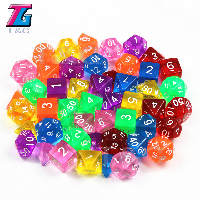 DnD 7Pcs/Set  T&g Polyhedral  RPG Games Dice with Marble Effect Transparent D4-D20 Pop for Board Game