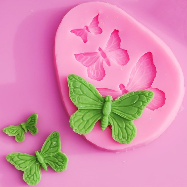 3-Hole Butterfly 3D Silicone Fondant Mold Chocolate Cake Mould Sugarcraft Decorating Baking Tools Bakeware Cookie Molds