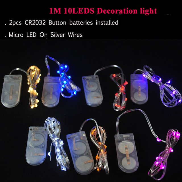 1M 10leds silver wire 9 Colors garland led chrismas light LED String Battery Micro LED Fairy Lights For Wedding Decoration