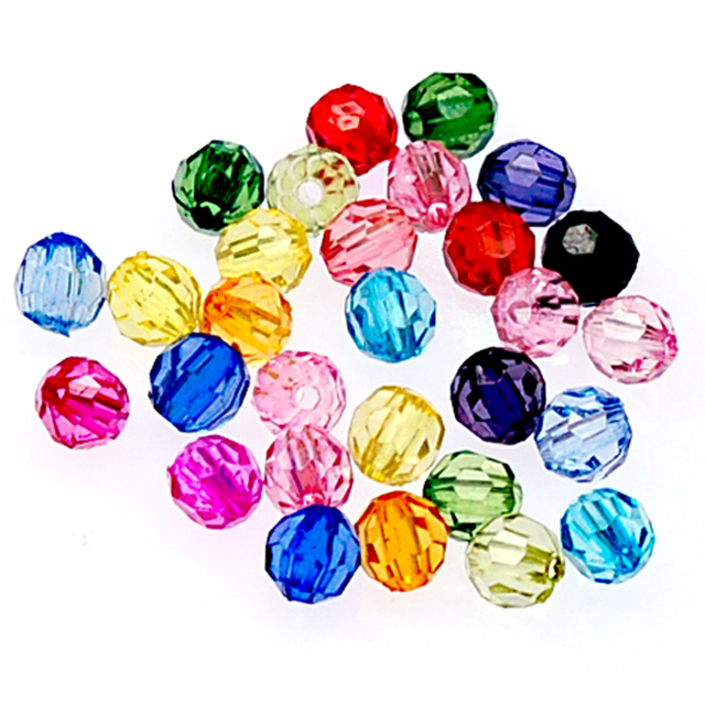 High quality acrylic Beads,6mm transparent faceted round Beads,mixed color acrylic transparent faceted bead for jewelry supplies