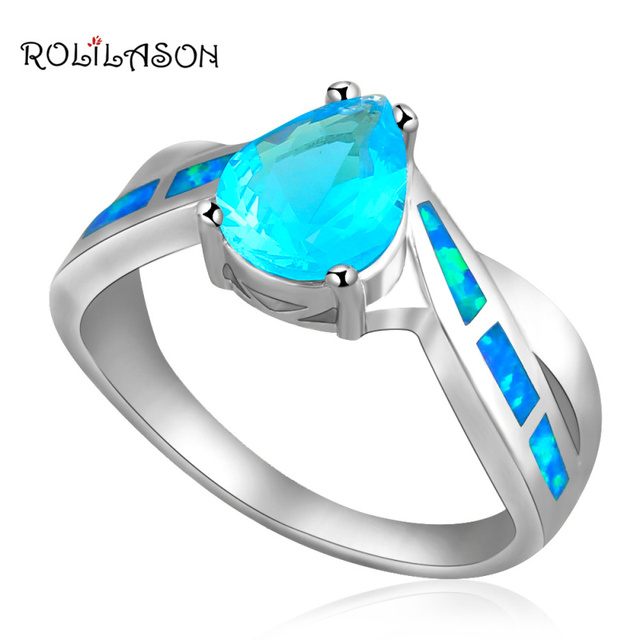 Designer ! Blue Fire Opal & Blue Zirconia silver plated wedding Ring USA Size  #5.5 #7 #7.5 Fashion Opal Jewelry OR205